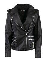 Womens Ladies Real Genuine Leather Slim Fit Tan Brown Biker Jacket