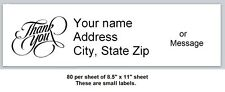 80 Small Return Address Labels Thank You Buy 3 Get 1 Free T2