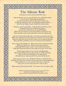 Poster WICCAN REDE LAW Long Version Pagan Book of Shadows Guidandce 8 1/2 x 11