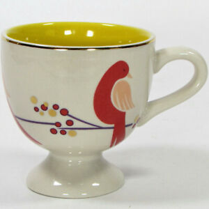 Anthropologie BIRD ON BRANCH 8oz Pedestal Mug Metallic Gold Orange Peach Yellow
