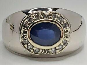 Mens 14k White & Yellow Gold 1.73tcw Nat Blue Sapphire & Diamond Ring Size 11.25