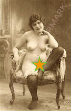 Erotic French adult material photo postcard lady seated.  No reserve