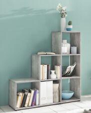 Wilmes: Treppenregal mit 6 Fächer - Raumteiler Bücherregal Regal - Betonoptik
