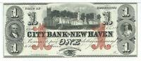 1865 $1 Connecticut City Bank of New Haven unissued Gem G12c Green #46111A