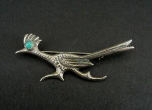 Brooch Sterling Roadrunner Vintage Silver Turquoise Stone Eye Bird Running Pin