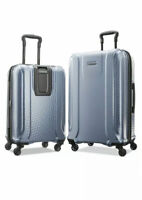 American Tourister Luggage Suitcase Fender Light Blue Hard Shell Spinner 2 Piece
