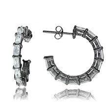 Black Tone over Sterling Silver Cubic Zirconia Baguette Cut Half Hoop Earrings