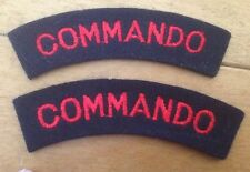 A nice matching pair of WW2 style COMMANDO / SAS Shoulder Title Cloth Patches