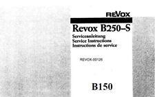 STUDER REVOX B150 B250-S AMPLIFIER SERVICE INSTRUCTIONS BOOK ENGLISH DEUT FRANC