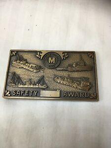 Rare Vintage McDermott Safety Award Brass/Bronze Belt Buckle Shipyard