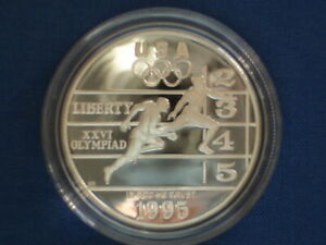 USA 1$ Silver Proof 1995 P Atlanta Olympics Track & Field KM#264