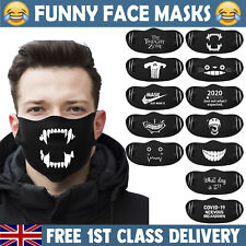 FUNNY FACE MASK Mouth Cover Washable Reusable Halloween Adult Masks UK Stockist