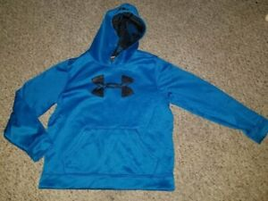UNDER ARMOUR Blue Fleece Hooded Pullover Boys YLG Size 14-16
