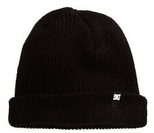 DC SHOES - CLAP CUFFED SOLID BLACK BEANIE TOBBAGAN HAT - NEW