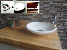 Groß  Massivholz Esche Waschtisch + Corian Aufsatz Waschbecken Wasserhahn Ablauf