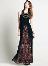NWT Free People Special Edition black Beaded Halter Metal Bib Maxi Gown Dress 0