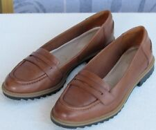9 | Clarks Griffin Milly Women Tan Leather Slip On Flat Penny Loafer
