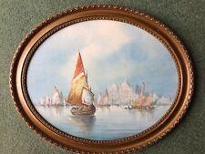 Watercolour painting signed H Salari Fishing boats Venice Italy