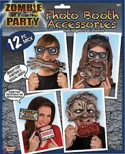 12 ZOMBIE PARTY PHOTO BOOTH PROPS Halloween Party Selfie Photo Props 79143