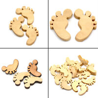 50pcs/bag Wooden Baby Feet Shapes Laser Cut MDF Blank Buttons Craft Decor Pro.