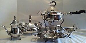 Mixed Lot Silverplate & Metal Chafing Dish Bowl Lid Gravy Boat Tea Pot Nut Tray