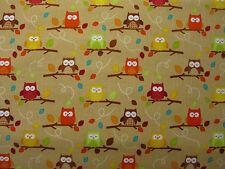 Owl fabric design in brown - Riley Blake's 100% cotton per Fat Quarter