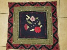 """Pottery Barn """"Green/Black/Burgund y Floral"""" Quilted Euro Pillow Sham"""