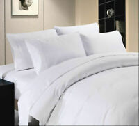 1000TC Egyptian Cotton White Solid Duvet Cover/Sheet Set/Fitted/Flat/Pillow Twin