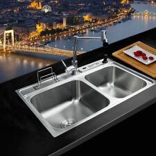 Chrome Stainless Steel Kitchen Sinks Set Rectangular 2 Bowls Faucet Undermount