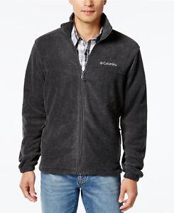 Columbia Men Steens Mountain Fleece Front Zip Jacket Charcoal Heather Size M NEW