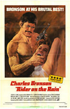 RIDER ON THE RAIN MOVIE POSTER Folded 27x41 Rerelease 1974 CHARLES BRONSON 1969