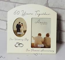 """AMORE Diamond 60th Anniversary Wedding Gifts Then & Now Photo Frame - 6""""x4"""""""