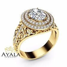 halo moissanite engagement ring 14k yellow gold ring oval cut engagement ring - Yellow Gold Wedding Ring Sets