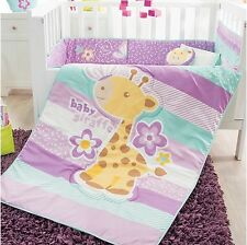GIRAFFE BABY GIRLS CRIB BEDDING SET NURSERY 6 PCS 100% MICROFIBER