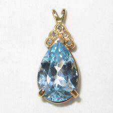 Vintage c1960 14K Gold Beautiful Blue Topaz and Diamond Pendant Large Blue Topaz