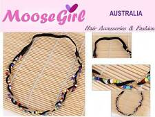 Bohemian Rainbow Beads Gold Chain Black Suede Ribbon Stretch Headband Hair Band