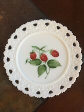 Vintage Milk Glass Plate Dish with Hand Painted Strawberries Reticulated Edge
