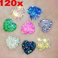 120Pcs^ Resin Heart AB Flatback Scrapbooking For Phone/Wedding Jewelry DIY Craft
