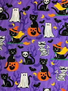 SCRUB TOP SIZES: S, M, L, XL, 2XL HALLOWEEN COSTUME KITTY CATS NWT NURSE MEDICAL