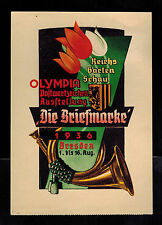 1936 Dresden Germany Olympics Commemorative Postcard Cover Flowers Horn