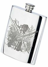 Pewter sporting life fishing / shooting pheasant shotgun 6oz HIP FLASK & funnel