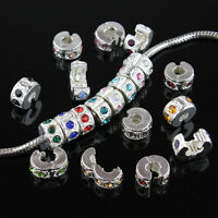 Czech Crystal Silver Spacer Beads Clips Locks Stoppers for European Bracelet DIY