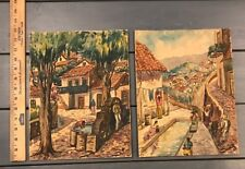 Set of 2 Original Acrylic Painting Art Latin America Village Signed Pressboard