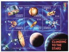 CLIMBING TO THE STARS: Spacecraft/Satellite Space Stamp Sheet #1 (2000 Dominica)