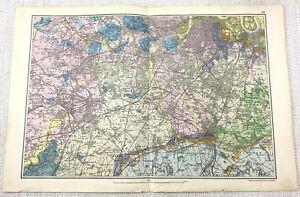 1900 Bacon's Mappa Di Londra Sud Putney Richmond Teddington Hampton Raro