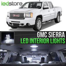 2007-2013 GMC Sierra White Interior LED Lights Kit Package + License Lights