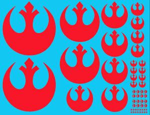 Red Star Wars Universal opaque rebel cog emblem decal roundel resistance bandai