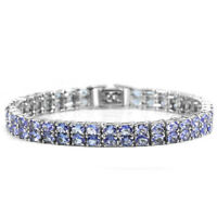 DELUXE NATURAL 74 PCS. OVAL AAA BLUE TANZANITE STERLING 925 SILVER BRACELET 7.5