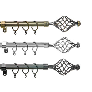Curtain Pole Set Spiral Extendable Metal Curtain Pole 19mm Rings Brackets Finial