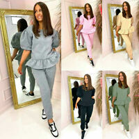 Ladies Long Sleeve Marl Knit Womens Peplum Ruffle Frill Top Tracksuit Loungewear
